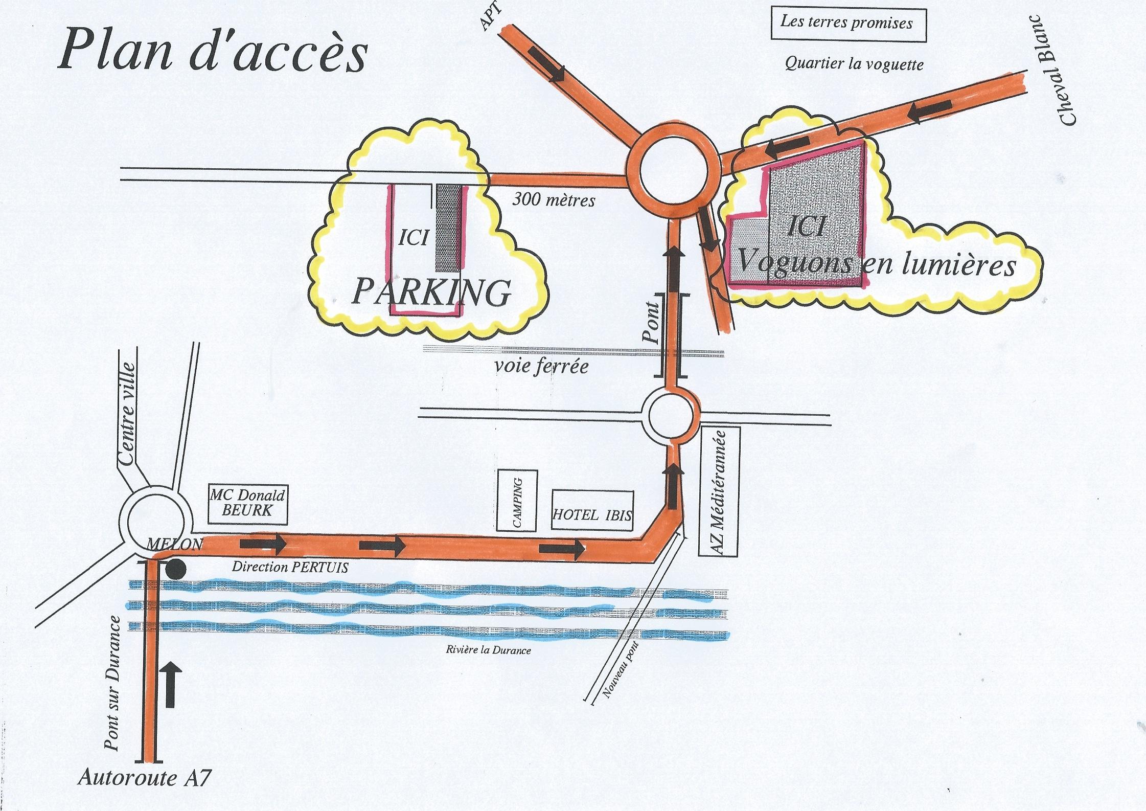 Plan d'acceĢs ferme terres La Voguette Cavaillon